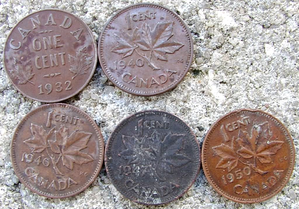 1932to1950Canada1cent5coins